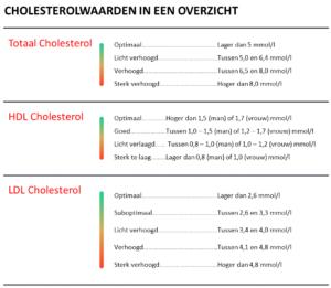Een overzicht van cholesterolwaarden: totaal cholesterol, HDL en LDL cholesterolgehalte