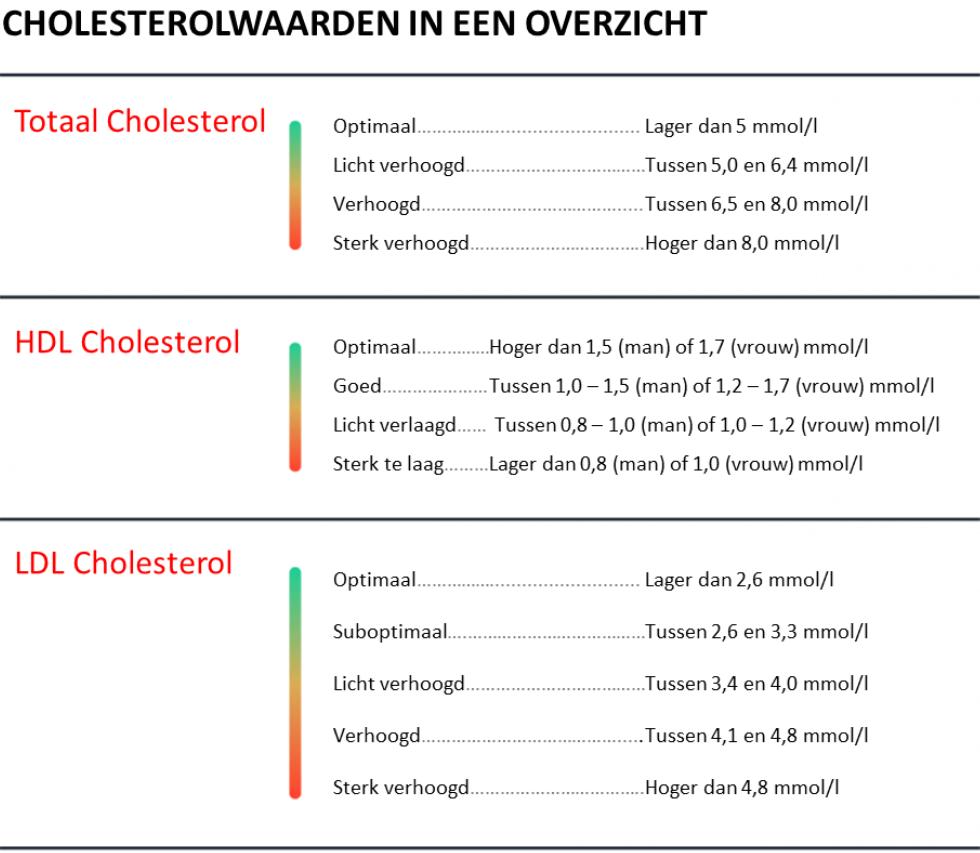 Een overzicht van de juiste cholesterolwaarden.