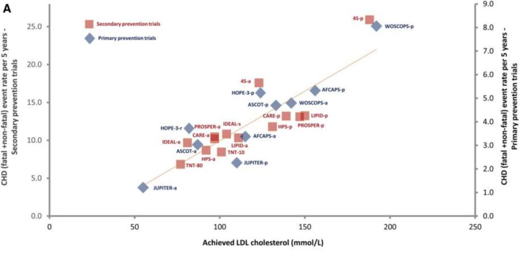 Samenhang tussen LDL cholesterol en cardiovasculaire gebeurtenissen, zoals een hartaanval of beroerte.